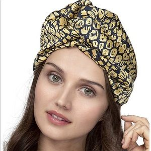 New Wide Black/Gold Jacquard headwrap Turban